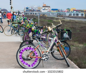 Galveston, Texas / USA - February 12, 2018: Decorated bikes are lined up for Mardi Gras in Galveston, Texas.