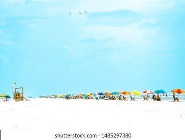 Galveston, TX, US - August 19, 2019: View of  colorful beach umbrellas at Stewart Beach on Galveston Island Texas.