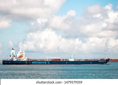Galveston, TX, US - Oct 04, 2018: The Minerva Mediterranea oil products tanker leaving the Port of Houston in Galveston Bay Texas.