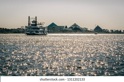 Galveston, TX, US - Oct 27, 2018: Passengers take a cruise aboard the Colonel Paddlewheel Boat in Galveston Texas.