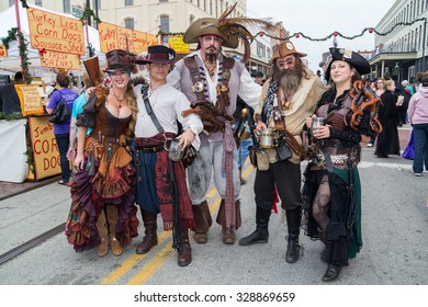 Galveston, TX/USA - 12 06 2014: Group of people dressed as fantasy pirates at Dickens on the Strand Festival in Galveston, TX