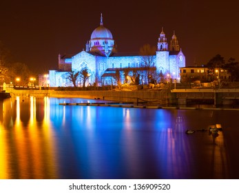 Galway Cathedral lit up blue at night