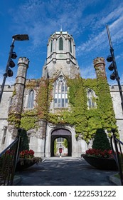 Galway City, Ireland - 29th July 2018: Historic Quadrangle building on the grounds of Galway city University,