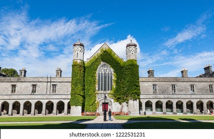 Galway City, Ireland - 29th July 2018: Panoramic view of the Quadrangle building in Galway city University,