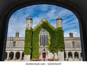 Galway City, Ireland - 29th July 2018: Historic Quadrangle building of Galway city University