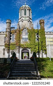 Galway City, Ireland - 29th July 2018: Historic Quadrangle building on the grounds of Galway city University in Ireland