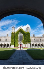 Galway City, Ireland - 29th July 2018: View from the entrance archway of the Quadrangle building in  Galway city University