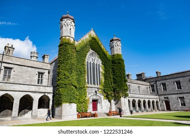 Galway City, Ireland - 29th July 2018: Tourist  taking photo of the Quadrangle building in Galway city University