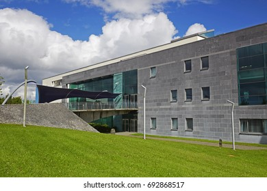 GALWAY IRELAND - 21ST JULY 2017; Facade of the Gmit (Galway Mayo Institute of Technology) Learning Resource Centre, Galway. Architect Hugh Kelly Architects