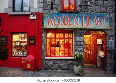 GALWAY, IRELAND -31 OCT 2016- The Latin Quarter is a lively pedestrian neighborhood in Galway City in the west of Ireland. Galway has been designated as the European capital of culture for 2020.