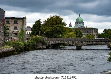 GALWAY, IRELAND - AUGUST 22, 2017: Architecture of city center of Galway Ireland
