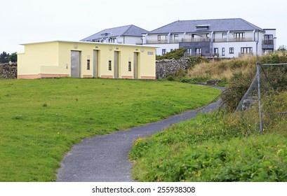 Galway, Ireland - August 26, 2014: Paid automatic toilet in the town of Galway in Ireland.