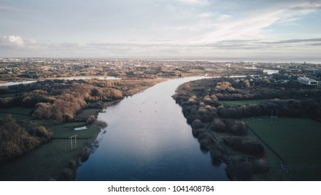 Galway / Ireland - January 13 2018: Beautiful birds eye view of the riverside near the NUIGalway.