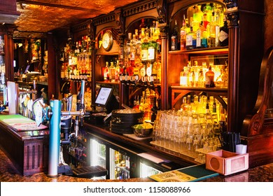 GALWAY, IRELAND - JULY 11, 2018: Interior of pub, for drinking and socializing, focal point of community in Galway, Ireland