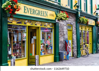 GALWAY, IRELAND - JULY 11, Exterior of a souvenir store in the city centre of Galway, Ireland