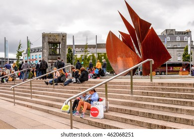 GALWAY, IRELAND - JULY 13, 2016: Eyre Square in Galway, Ireland. Galway will be European Capital of Culture in 2020