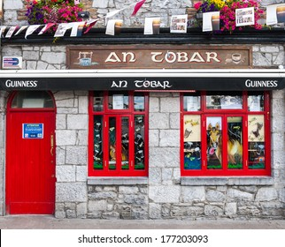 GALWAY, IRELAND - JULY 29, 2009: Entrance to An Tobar pub. The pub has a tremendous significance in Irish culture, and nowhere more so than in the West of Ireland.