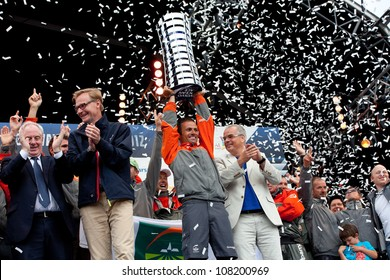 GALWAY, IRELAND - JULY 7: Skipper F. Cammas, Groupama ,with the trophy for the first place overall in the Volvo Ocean Race 2011-12, at the final prize giving, on July 7, 2012 in Galway, Ireland.