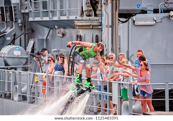Galway, Ireland - June 30, 2018: Galway Sea Festival; show of Fly Boarders