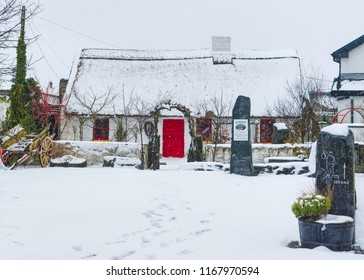 Galway, Ireland - March 02, 2018: Katies Claddagh Cottage, Claddagh Galway Ireland covered in snow during the snow storm in March 2018