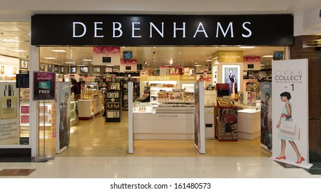 GALWAY, IRELAND  OCTOBER 24 : A branch of DEBENHAMS, Galway, Ireland, 24 October 2013. Debenhams plc 2013 full year results show profit down 2.7% at £154 million and eps up 4.1% to 10.2p.