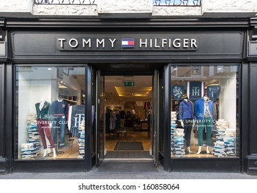 GALWAY, IRELAND  OCTOBER 24 : A Tommy Hilfiger store, Galway, Ireland, 24 October 2013. Since its debut in 1985, the Tommy Hilfiger Group has become a US$ 4.6 billion apparel and retail company.