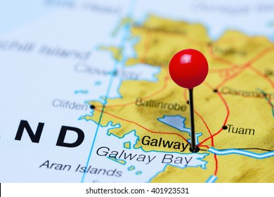 Galway pinned on a map of Ireland