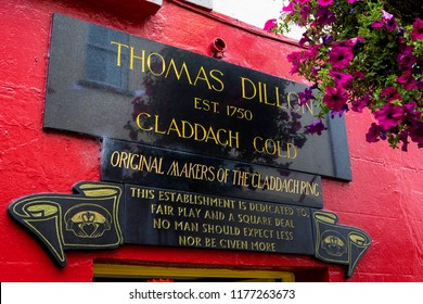 Galway, Republic of Ireland - August 19th 2018: Thomas Dillon Jewellers - the original makers of the Claddagh Ring in Galway, Ireland.  The Claddagh Ring represents love, loyalty and friendship.