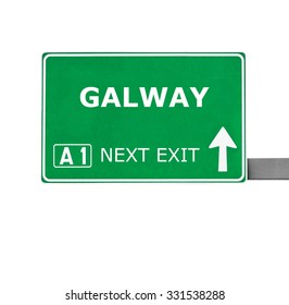GALWAY road sign isolated on white