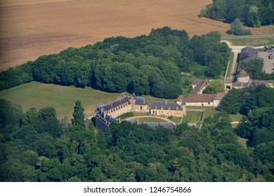 Gambais, France - july 7 2017 : aerial photography of the classical castle of Neuville