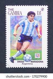 GAMBIA - CIRCA 1994: a postage stamp printed in Gambia showing an image of Diego Armando Maradona, circa 1994.
