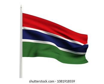 Gambia flag floating in the wind with a White sky background. 3D illustration.