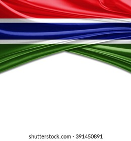 The Gambia flag of silk with copyspace for your text or images and white background
