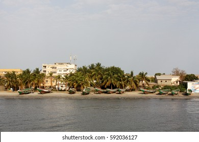 Gambia River, the Gambia, april 2015; looking at capital Banjul from the ferry to Barra.