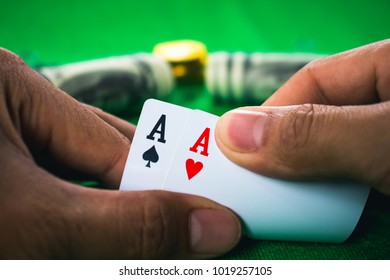 Gambling card game in casino.