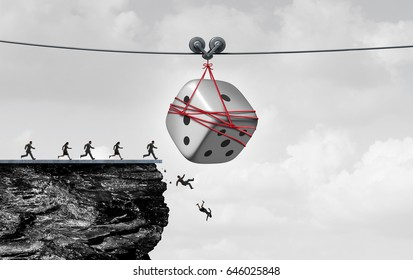 Gambling danger and betting addiction as gamblers being lured by a giant dice on a zip liner as a gaming and wagering concept or business speculator icon with 3D illustration elements.