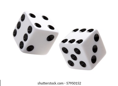 Gambling dices falling down against white background.