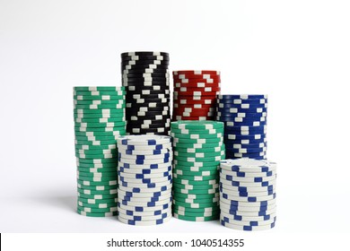 gambling, fortune, game and entertainment concept. Isolated on white poker chips