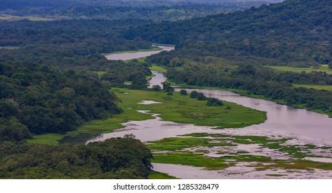 GAMBOA, PANAMA - AUGUST 15, 2009: river and rain forest along Panama Canal zone.