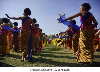Gambyong Dance. Klaten, Central Java, Indonesia July 29 2018, Traditional Gambyong Dance performed at anniversary of Klaten,Central Java Indonesia