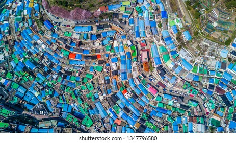 Gamcheon Culture Village, Busan, South Korea, Aerial top view Gamcheon Culture Village.