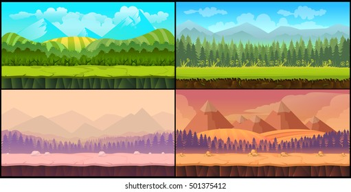 Game backgrounds seamless set, 2d game application. design. Illustration for your application , project