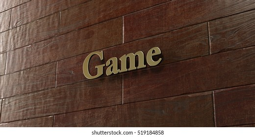 Game - Bronze plaque mounted on maple wood wall  - 3D rendered royalty free stock picture. This image can be used for an online website banner ad or a print postcard.