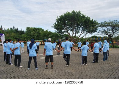a game to build a team work , puncak, west java, indonesia. photo taken in may 2011