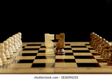Game of chess. the confrontation of horses