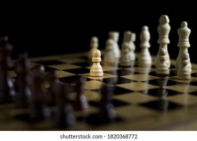 Game of chess. Move E2-E4