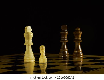 Game of chess. White and black. Confrontation