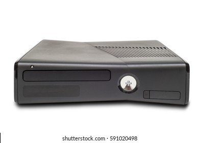 Game console on white background