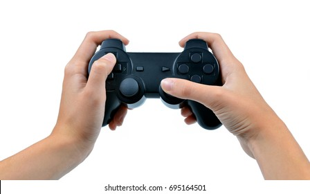Game controller in hand isolated on white background.