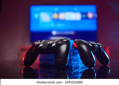 Game controller, videogame joystick or gamepad on a table. Close up studio shot